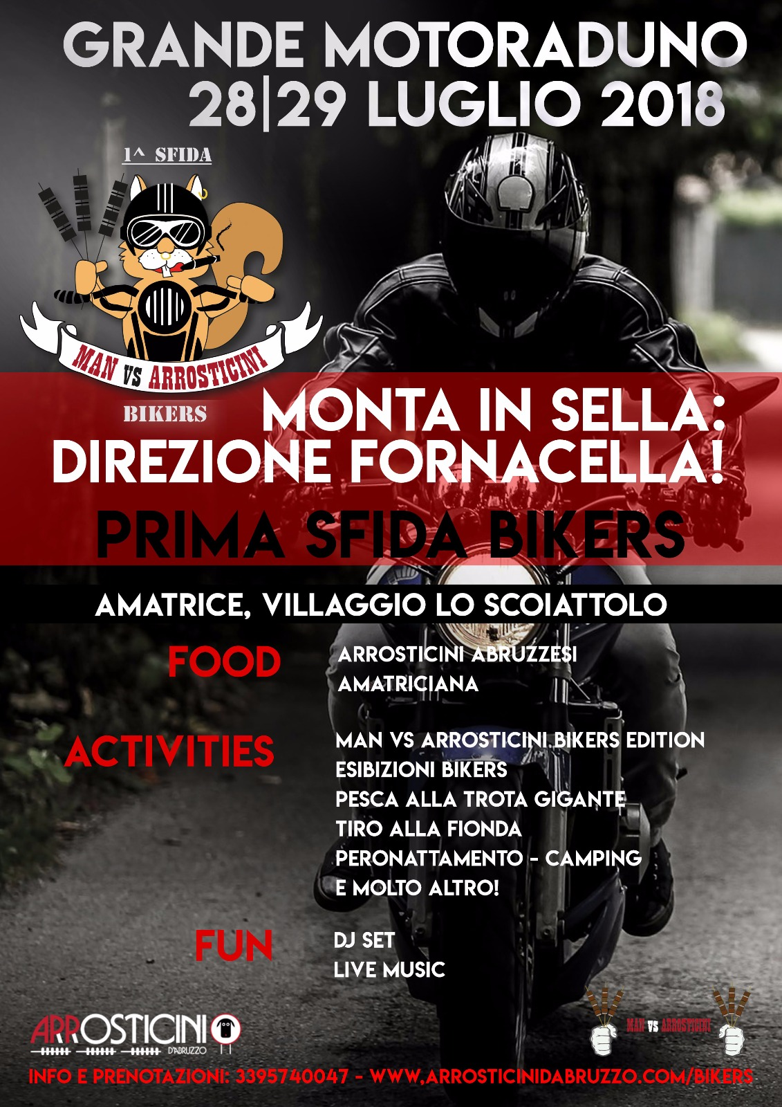 moto raduno locandina Man vs Arrosticini bikers Amatrice 2018