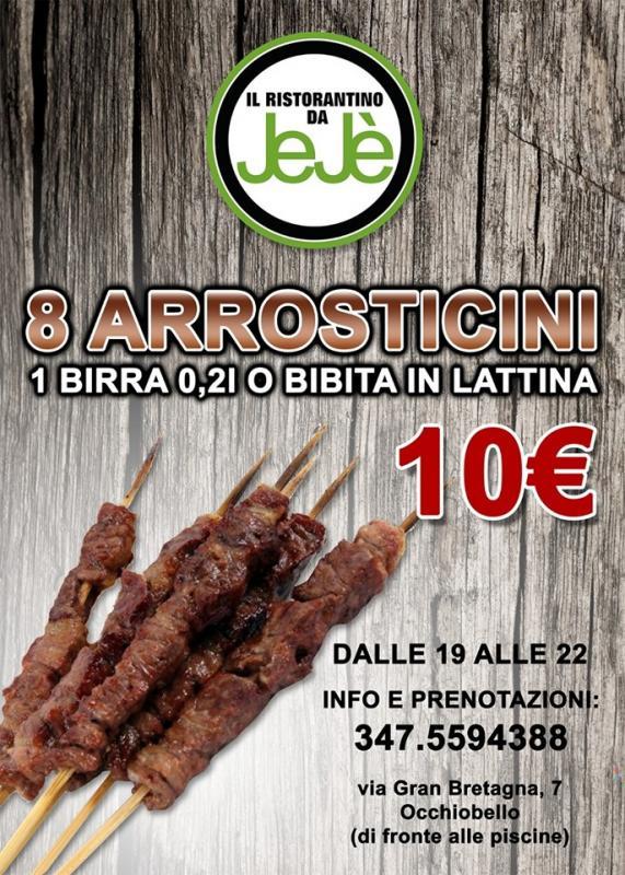 8 Arrosticini abruzzesi, una birra o una bibita a soli 10€