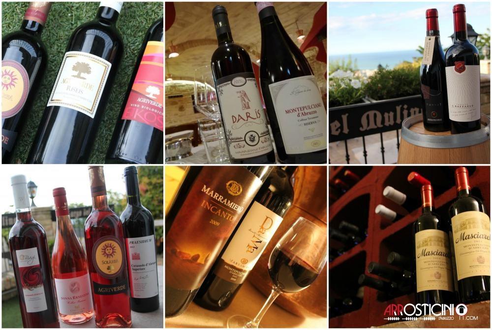 vini e cantine montepulciano d'Abruzzo del ristorante Largo del Mulino a Tortoreto